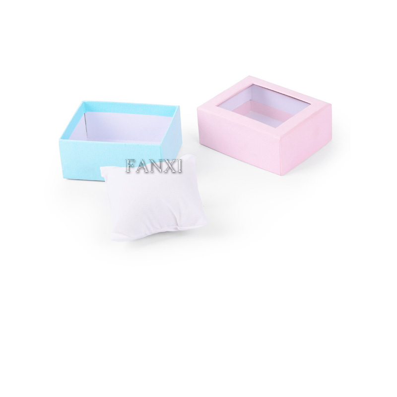 FANXI Lovely Pink And Blue Color Gift Boxes With PVC Window Cheap Wholesale Custom Paper Watch Box