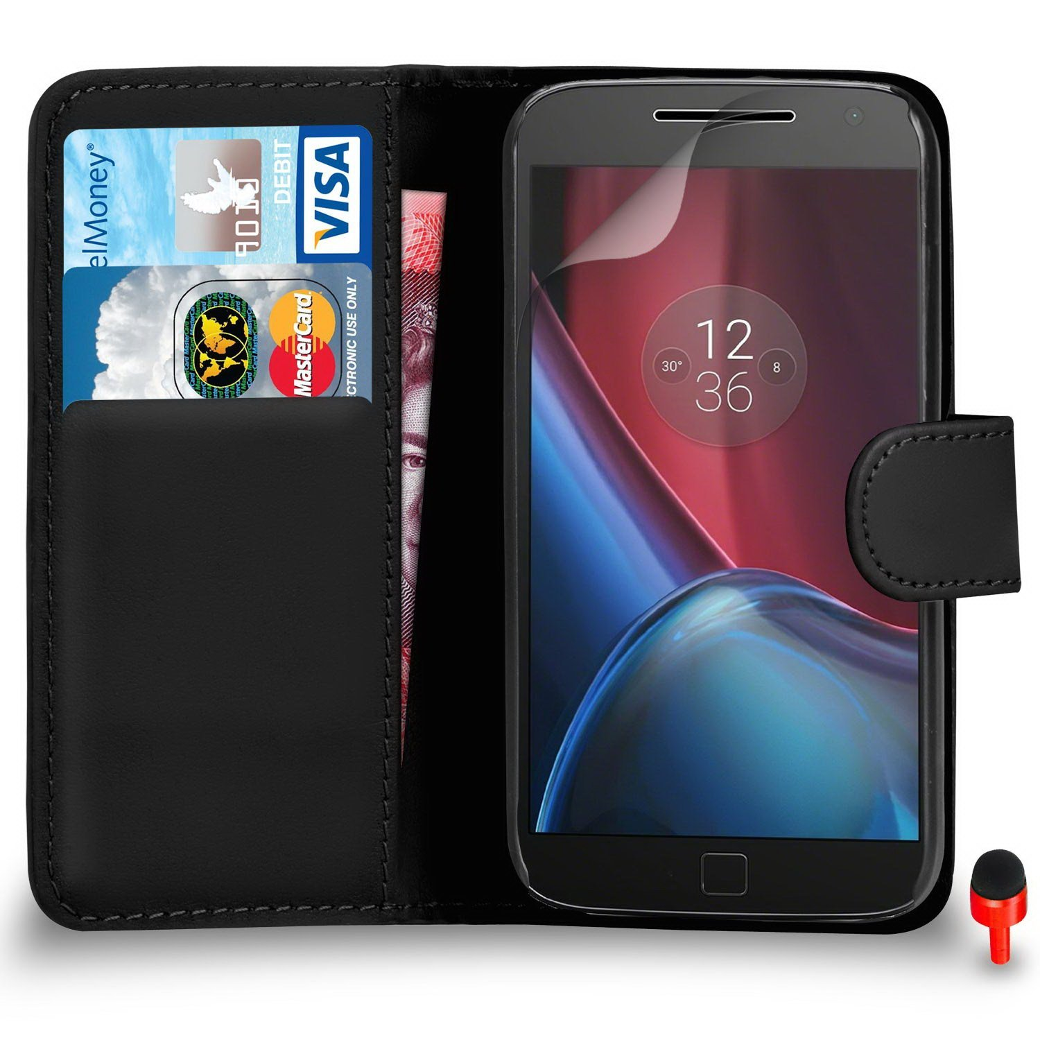 Motorola Moto G4 Premium Leather Black Wallet Flip Case Cover PouchRED DS+ Screen Protector & Polishing Cloth SVL0 BY SHUKAN®, (WALLET BLACK)