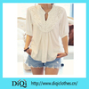 Latest Attractive Half Sleeve Shirt Sexy Lace Lady Tops Fashion Lace Splicing Flower Casual Blouse