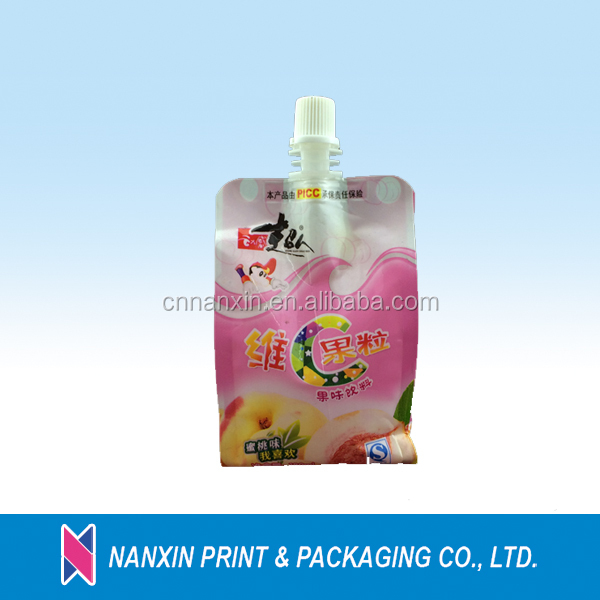 Custom logo printed flat bottom pouch with spout for juice
