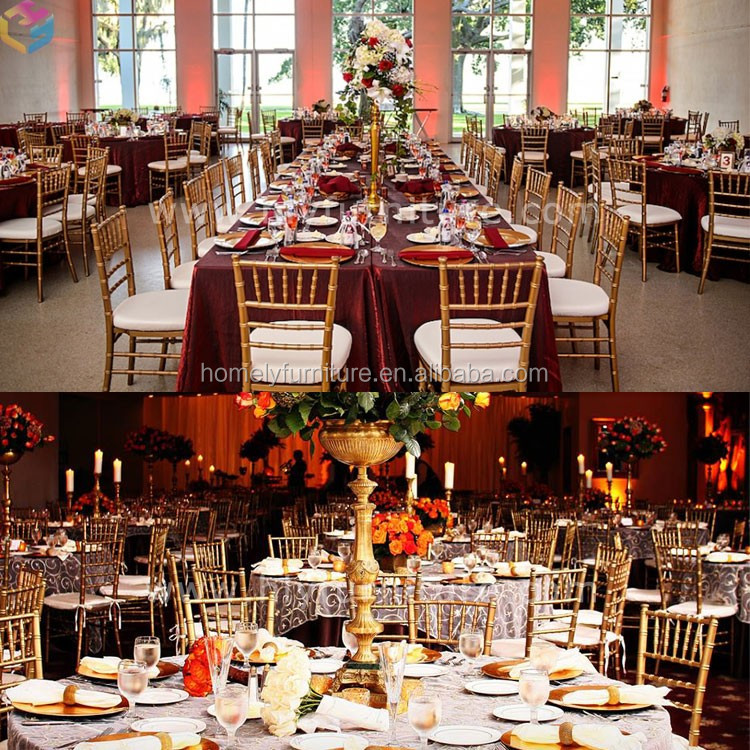 Wholesale Cheap Used Stacking Hotel Banquet Gold Silver Wedding Tiffany Chairs Iron Aluminum Metal Chiavari Chairs For Sale
