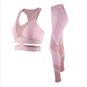 Pink Padding Bra Compress Tights Yoga Fitness Activewear Women Set