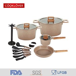 High Quality 16 Piece Cast Aluminum Ceramic Non-Stick Cookware Sets Kitchen Soup Pot / Sauce Pan / Fry Pan