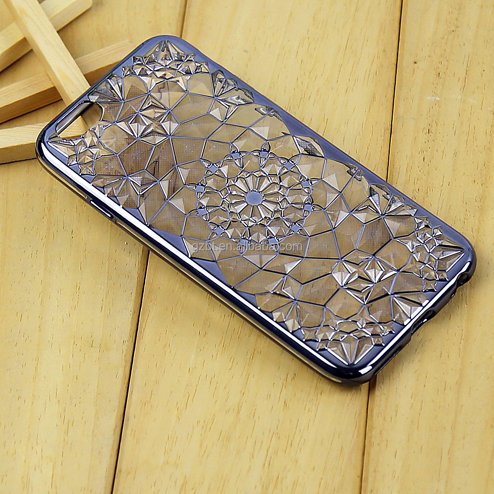 China Suppliers Alibaba Electroplating Bumper Diamond Print TPU Mobile Case For I Phone 5s Case