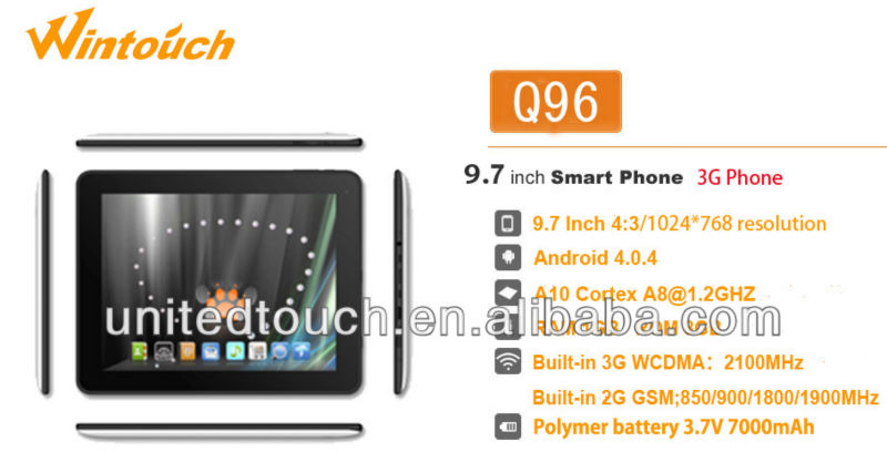 9.7 inch wintouch 3g android tablet pc. 3g mini pad, umpc made in china