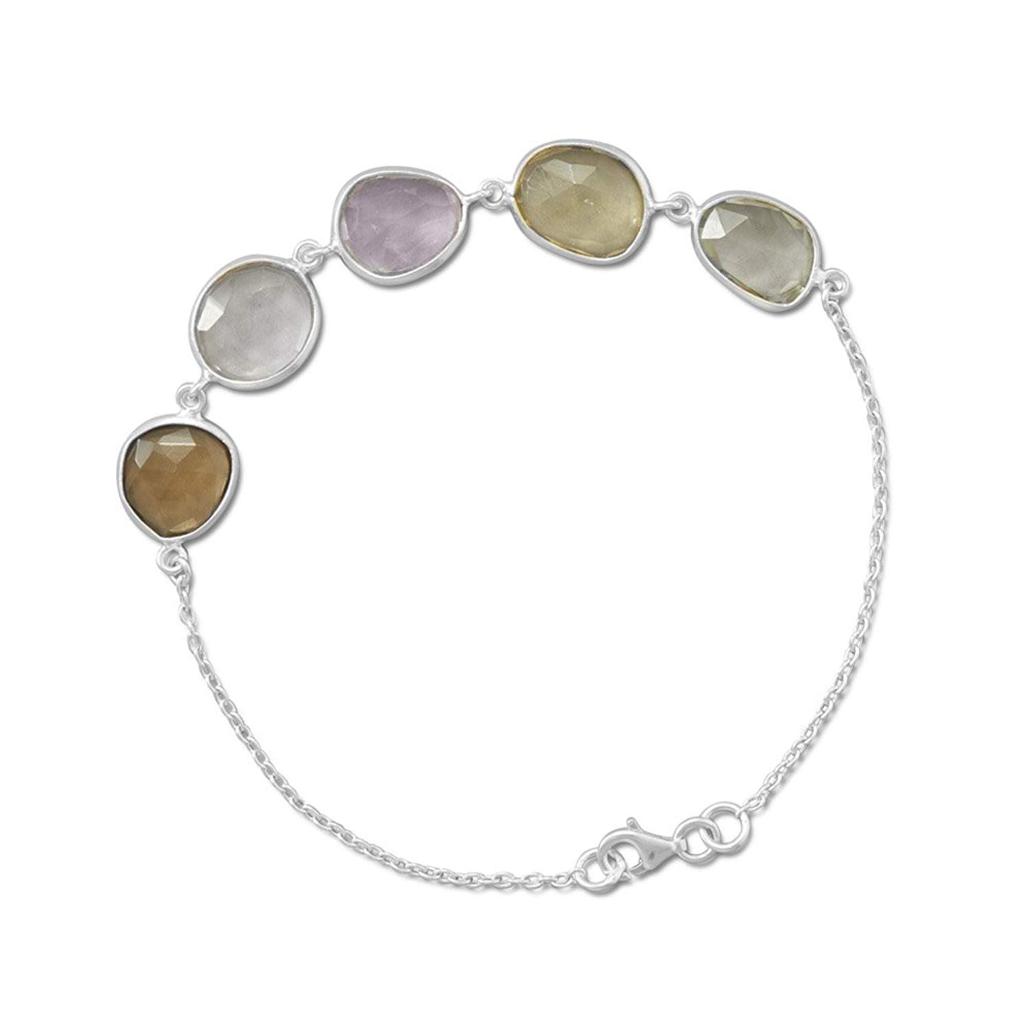 7+1 inch Ext. Chain Sterling Silver Bracelet ONLY, Lemon/Clear/Golden Quartz, Pink/Green Amethyst