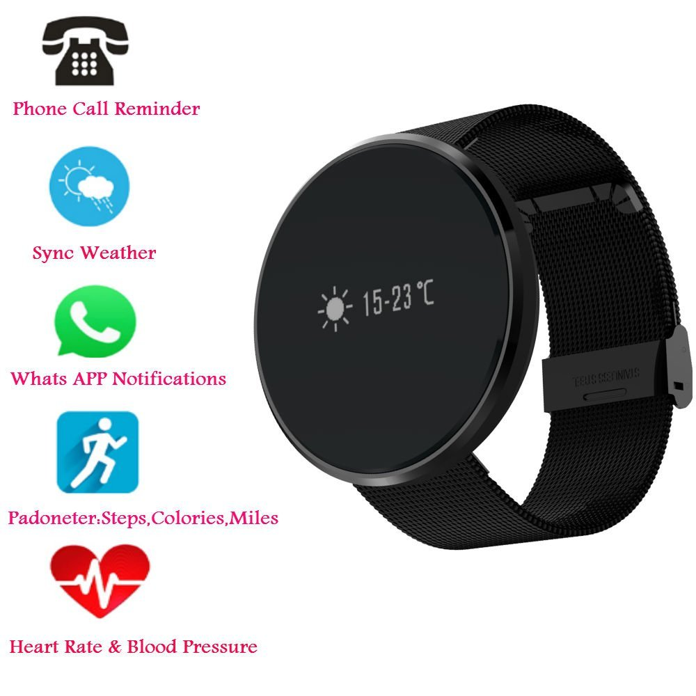 Hangang Bluetooth Smart Bracelet, Heart Rate / Blood Pressure / Blood Oxygen Monitoring ,Waterproof Smart Watch , Fitness Tracker Pedometer Waterproof Watch for Android and iOS (black-Steel strip)