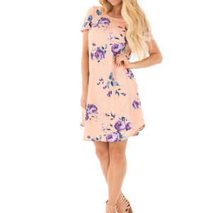 Fashion Summer Lady Dress Floral Print Dresses Women Beach Dress