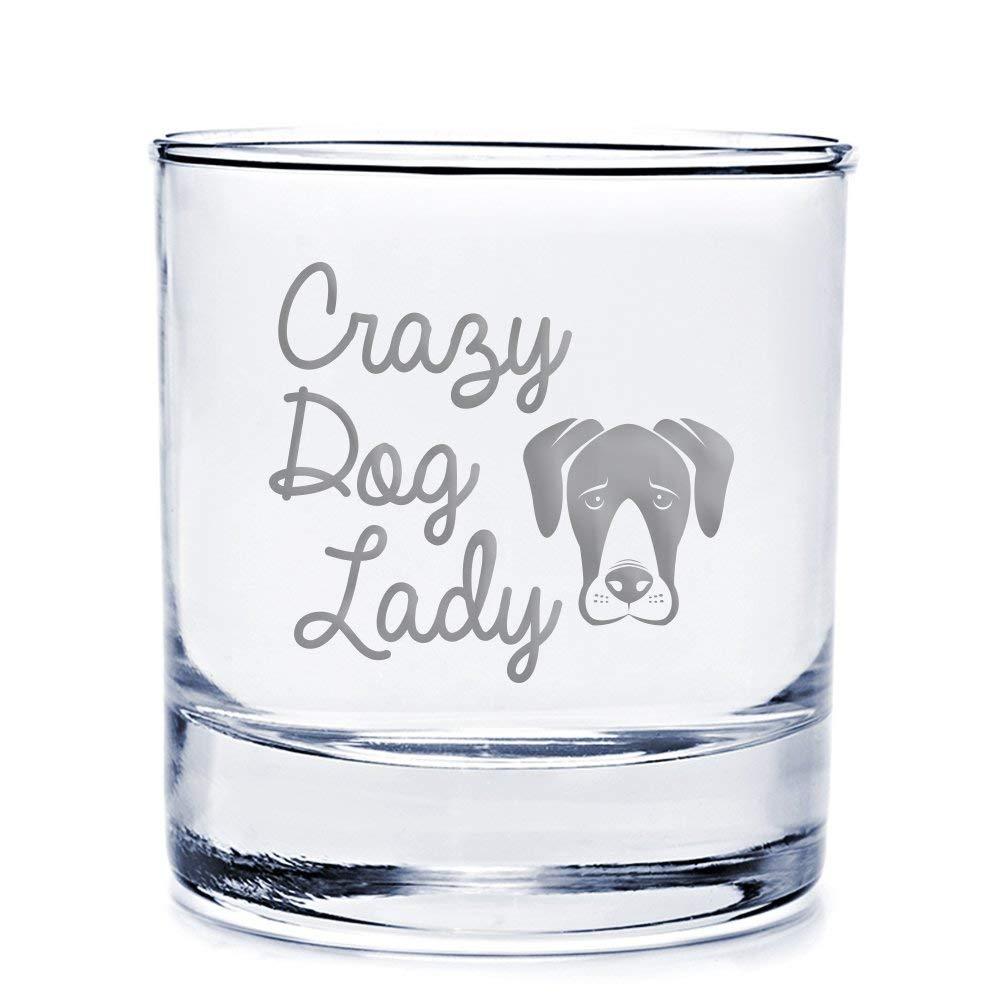 Crazy Dog Lady Great Dane Engraved 10-ounce Rocks Glass - 4pcs