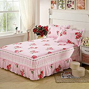 cotton bed skirt with pillowcases bed spread bedclothes for all bed size twin full queen king size for girl's room (Queen size)