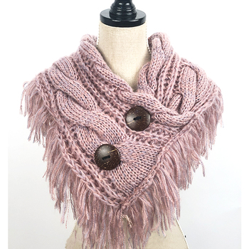 Light Weight Winter Two-tone Medium Infinity Scarf, Soft Neck Warmer Neck Wrap With Coconut Button For Girls Women