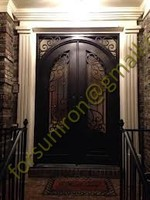 wrought iron door inserts window
