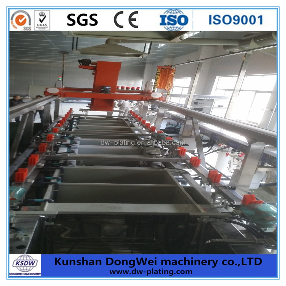 Automatic nickel plating line and copper plating line for machine components.