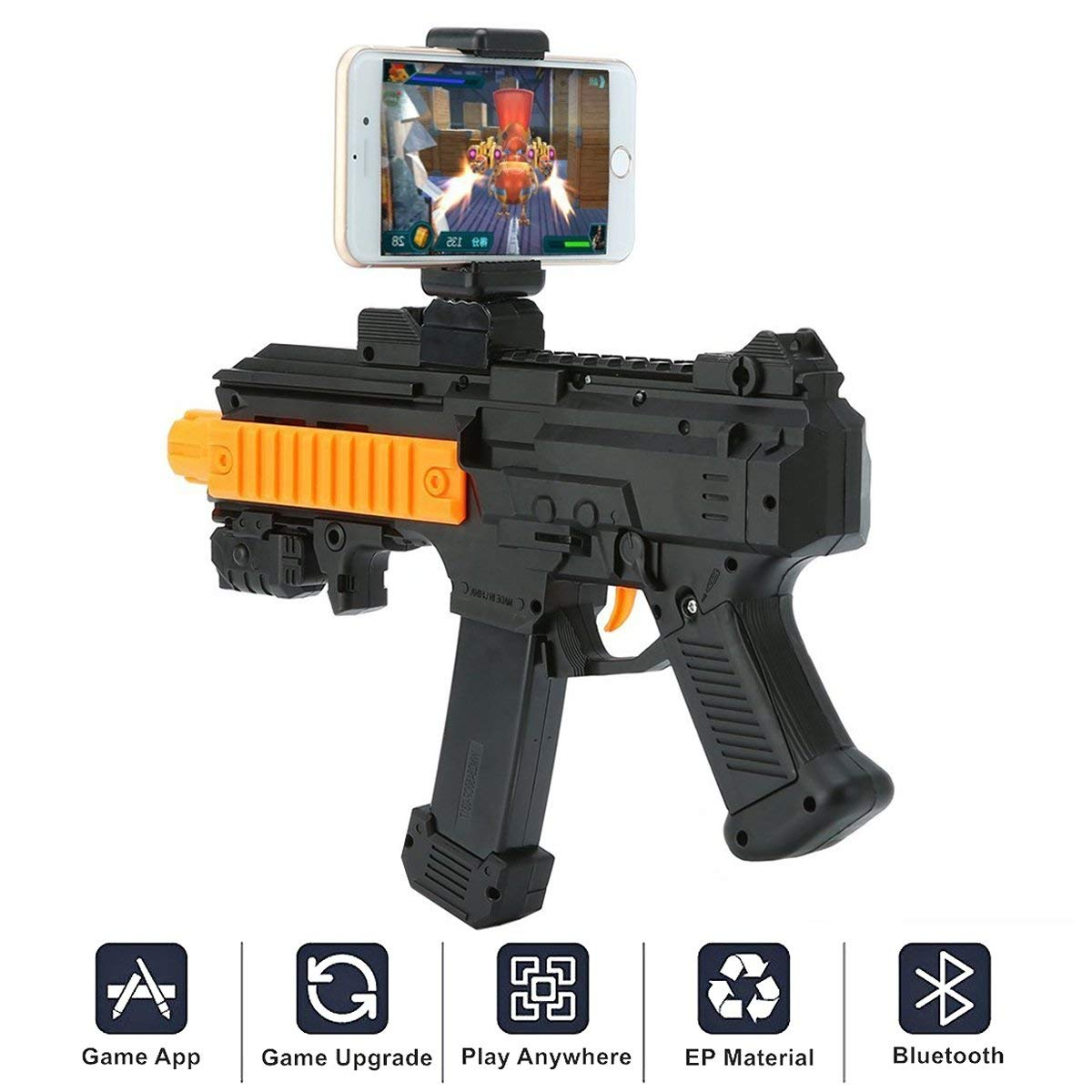AR Game Gun Bluetooth,Sunandy Portable Virtual Gaming Gun Toy with Cell Phone Stand Holder 360°Augmented Reality AR Bluetooth Game Controller For IOS Android Smartphones
