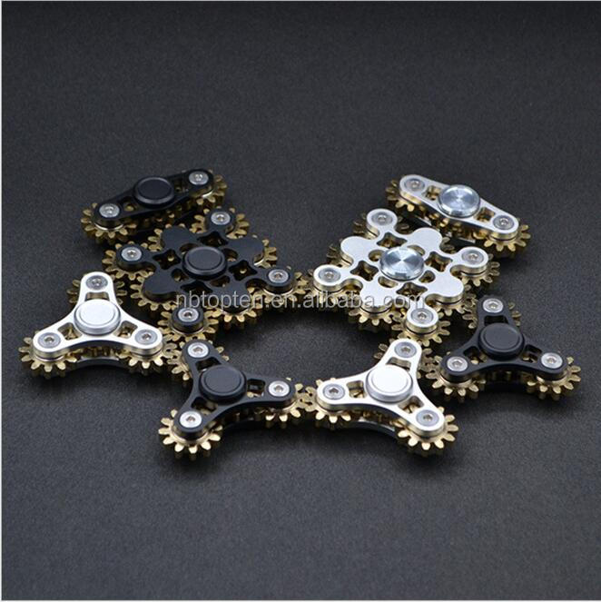 2017 Factory price TMHS-6 9 gears finger spinner Brass 625 bearing Nine gears linkage machinery fidget hand spinner