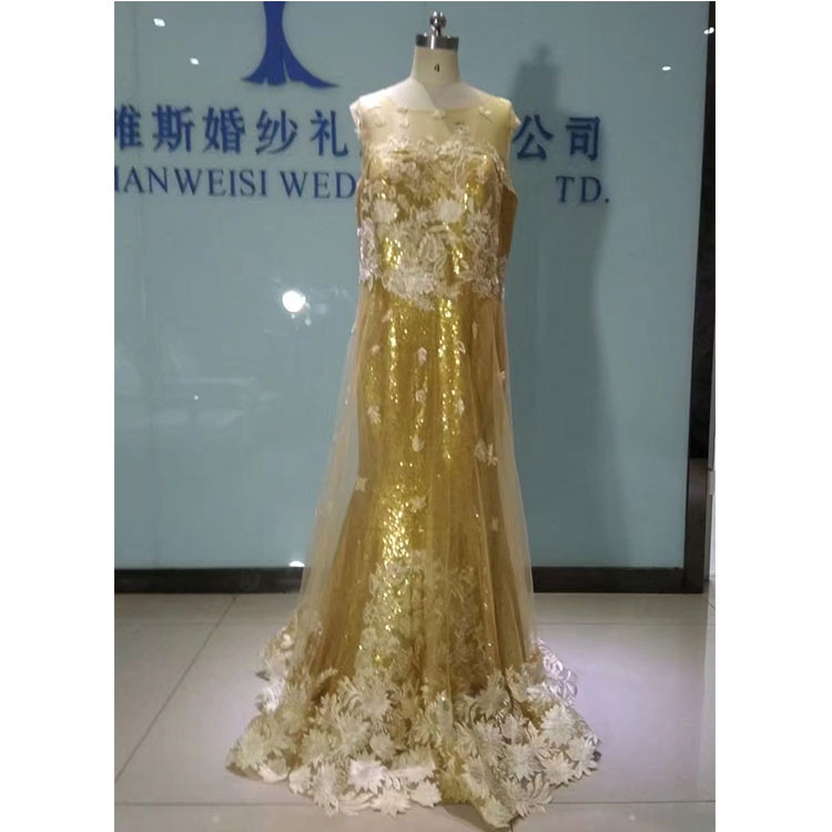Lace Applique Yellow Sequins All Cheap Designer Contemporary Off The Rack Wedding Dresses