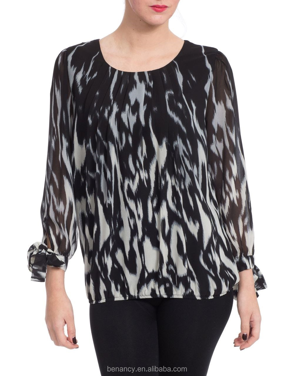 Images Of Ladies Casual Blouse Fashion Zebra Printed Chiffon Blouse