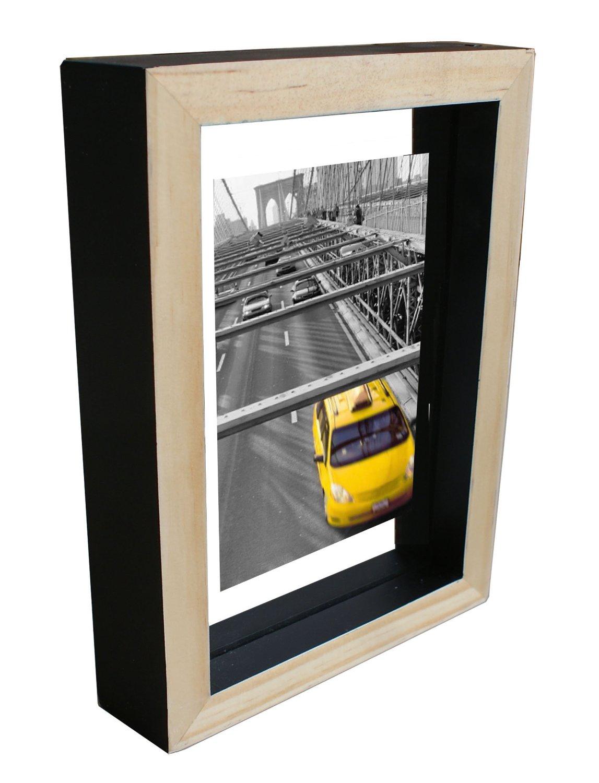"Kingwin Wood Floating Glass Photo Frame WF1107(black, 6""x8"")"