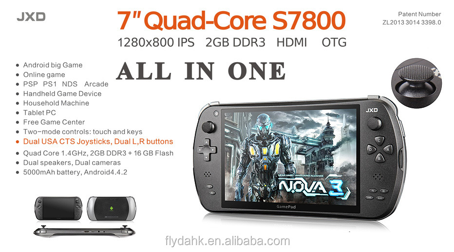 S7800D Game Console jogador Do Jogo JXD 7 ''tablet pc android 4.4.2 quad core jogador gram dual camera IPS LCD MID.