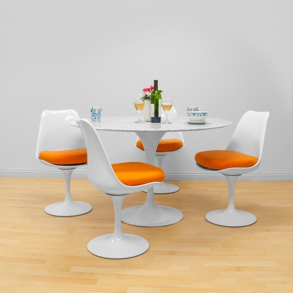 """MD Group Dining Set Elegant Modern Style Round 47"""" Natural Marble Table Orange Chair 5Pcs"""