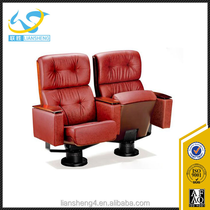 Metal folding commercial auditorium chair with fixed legs,home cinema seating /VIP chairwith back and red colour