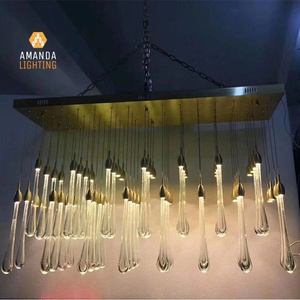 Customized Modern LED Decorative Raindrop Chandelier Hanging Ceiling Lamp with Bubble For Hotel Foyer