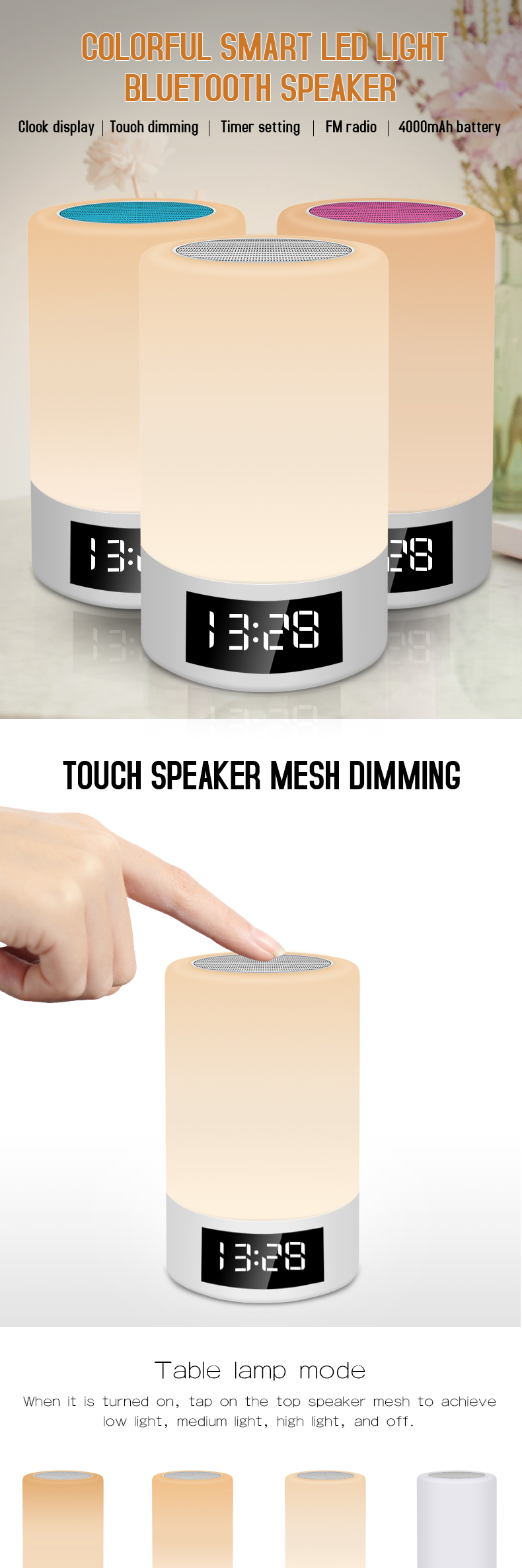 portable multimedia bluetooth speaker smart table lamp light alarm clock led touch light speaker for home