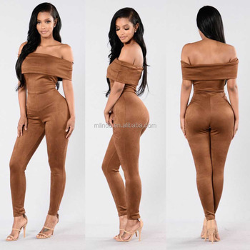 Party Wear Evening jumpsuits Off Shoulder Skinny Leg Suede Jumpsuit womens summer jumpsuits