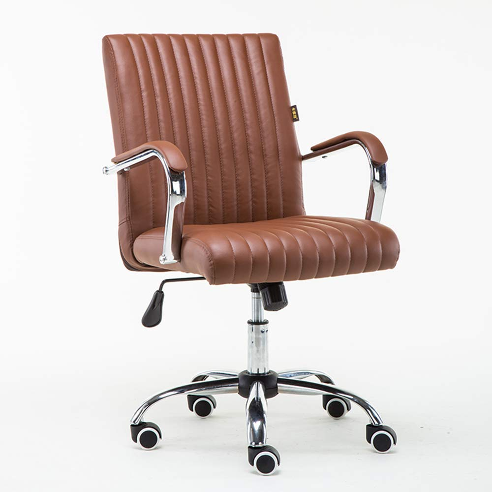 QFFL jiaozhengyi Swivel Chair, Home Computer Chair Lifting Pulley Rotating Office Chair Backrest Boss Chair Student Chair (Color : Brown)