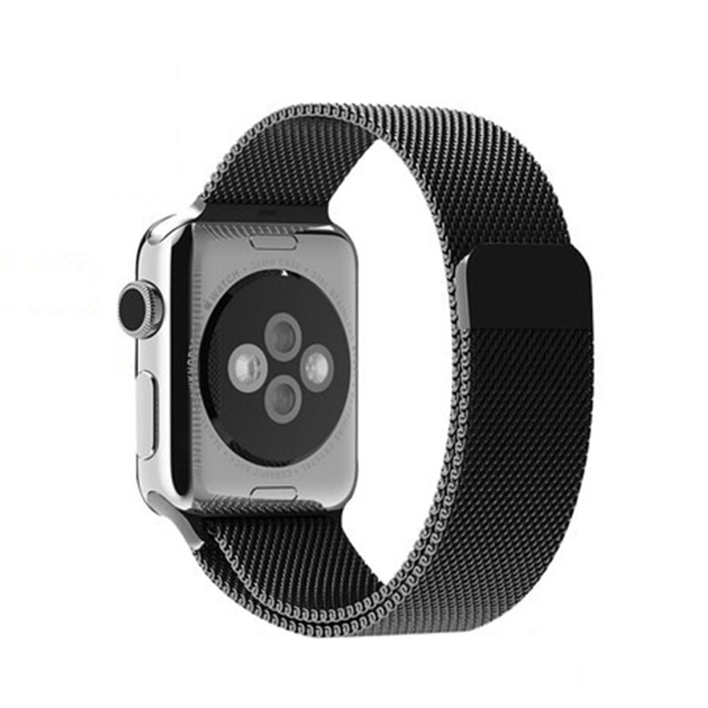 Apple Watch Band, NeaWo Strong Magnetic Milanese Loop Mesh iWatch Band Metal Clasp Strap for Apple Watch (Black 38mm)