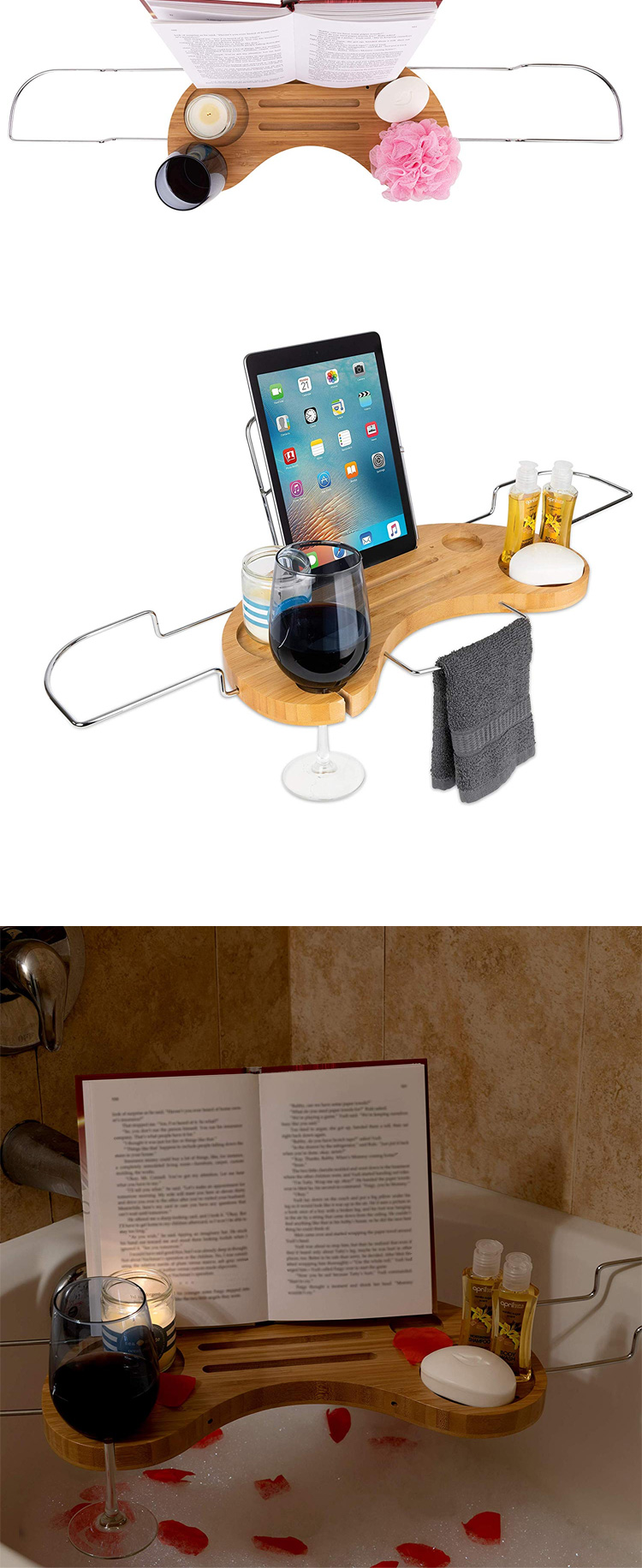 Luxury Bathtub Caddy Tray  Bamboo Expandable Organizer With Detachable Tablet Backrest 3
