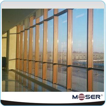 customized aluminium outside wood inside composite glass curtain