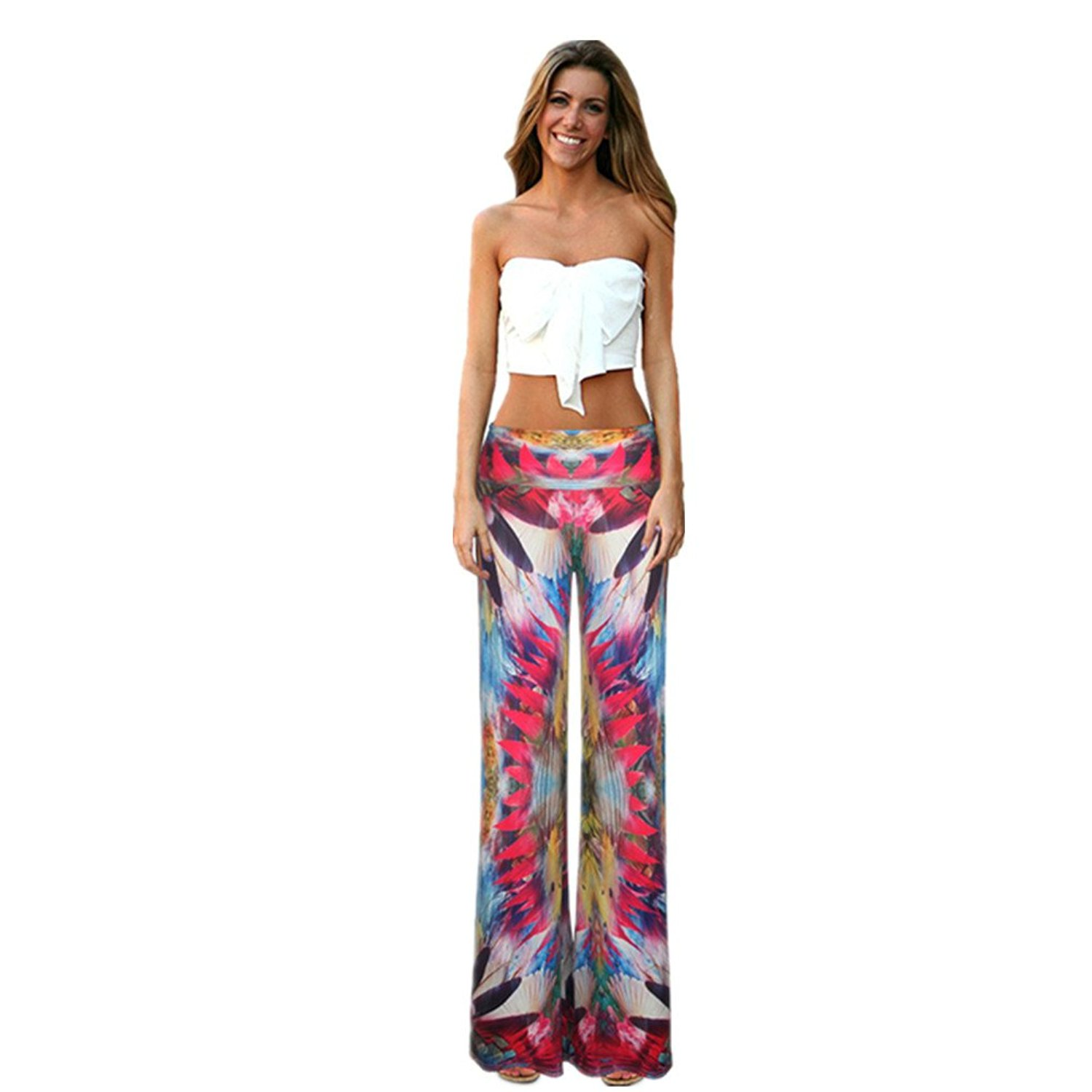 3437a27d7 Get Quotations · Bobbycool Female Folk Style Leisure Pants Baggy Pants  Digital Printing