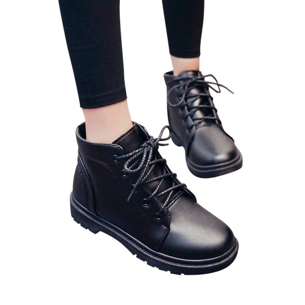 d7e468ad019 Get Quotations · Kinrui Women s Lace-up Platform Heel Shoes Student Thick  Martin Boots Shoes Thick Short Boots