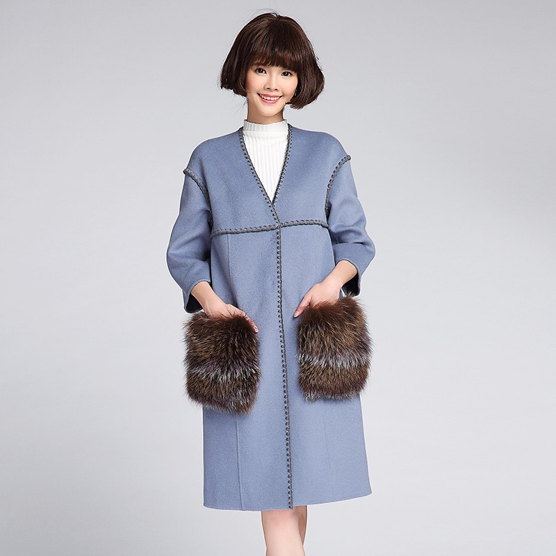 Latest Design Real Fox Fur Mature Coat For Women Winter