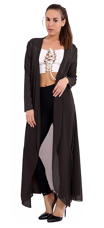 b30f82ef7f80 Get Quotations · Ladies Chiffon Sheer Mesh Plain Kimono Duster Maxi Jacket  US SIze 4-22