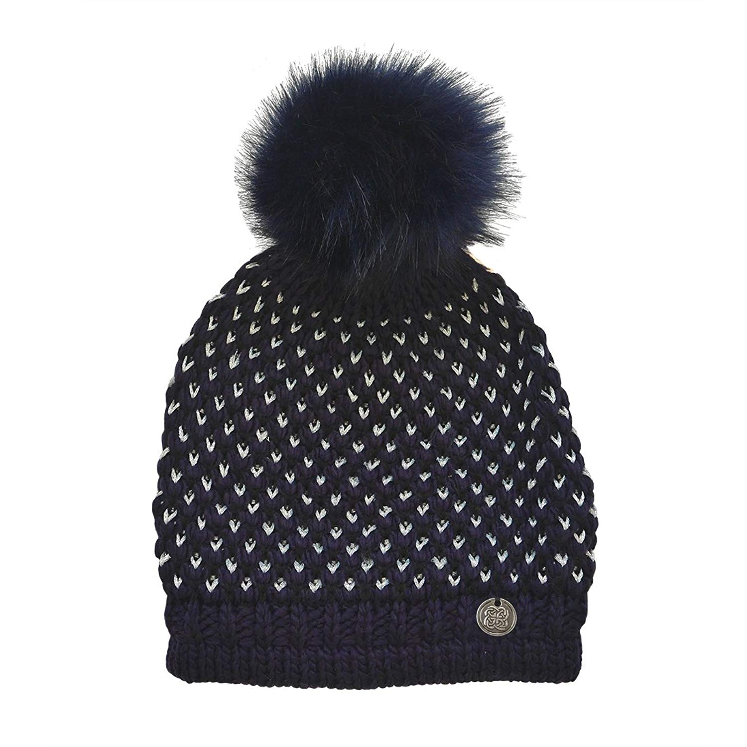 3704a8203d9 Get Quotations · Patrick Francis Navy and Silver Lurex Fur Bobble Hat