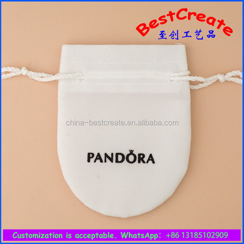 Custom White fancy velvet pandora jewelry bag for silver pendant