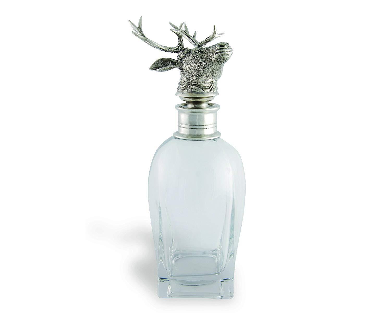 "Vagabond House Pewter Elk Liquor Decanter 11"" Tall 22 Ounces"