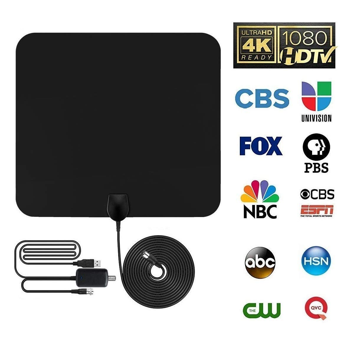 AOOP HDTV Antenna, Indoor Digital Amplified TV Antenna 80-100 Miles Range with Adjustable Amplifier Signal Booster for 1080P 4K Free TV Channels, Amplified 13.12ft Coax Cable