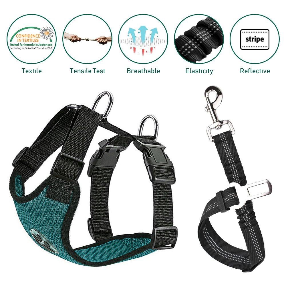 Nasus Dog Car Harness Seat Belt Vest Harness, Multifunction Adjustable Double Breathable Mesh Fabric with Car Vehicle Connector Belt for Dogs Travel Walking Trip