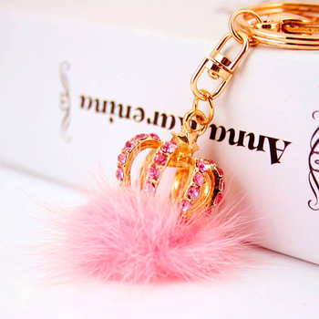 Wholesale custom luxury fur ball key holder keychain crystal rhinestone crown keychain