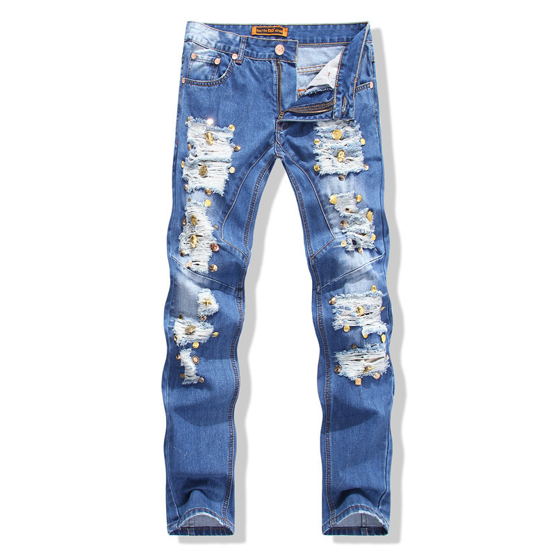 b359fff22e36d Get Quotations · Biker Jeans 2015 New Arrival Men s Wear Cowboy Skulls  Splicing Straight Blue Jeans Sale Rivets Slim