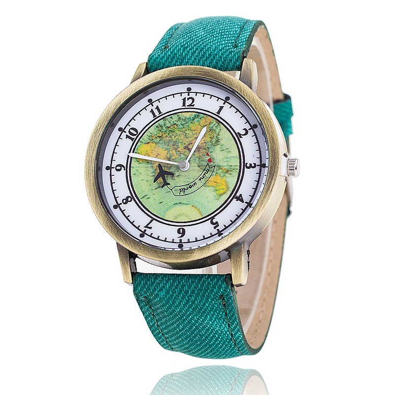 Unisex Golden Round Shell World Map By Plane Watch Date Quartz Denim Fabric Wristwatch Analog Mujer Relogio Feminino Watches