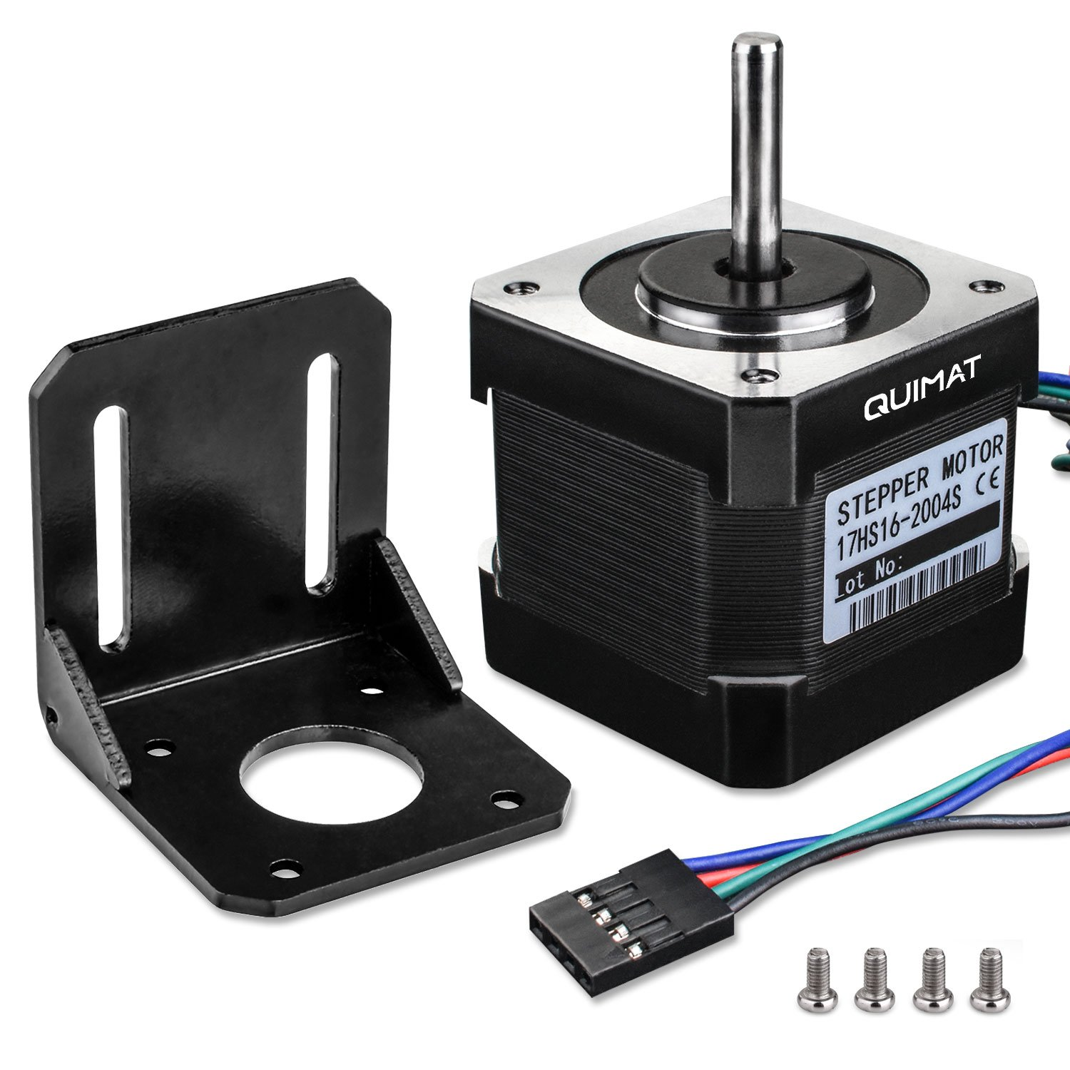 Quimat Nema 17 Stepper Motor, Stepper Motor Bipolar 2A 64oz.in(45Ncm) 38mm Body 4-lead w/1m Cable and Connector with Mounting Bracket for 3D Printer Hobby CNC