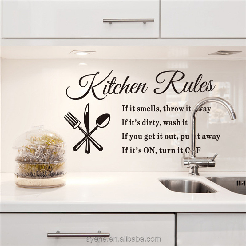 kitchen room wall decoration 3d art custom vinyl wall sticker 3d kitchen quotes kitchen rules wall tile stickers wallpaper decor