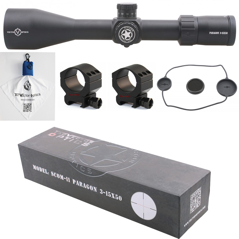 Vector Optics Paragon 3-15x50 Tactical Rifle Scope Hunting with German Glass KillFlash 1/10 MIL 1CM 0.1 Mrad
