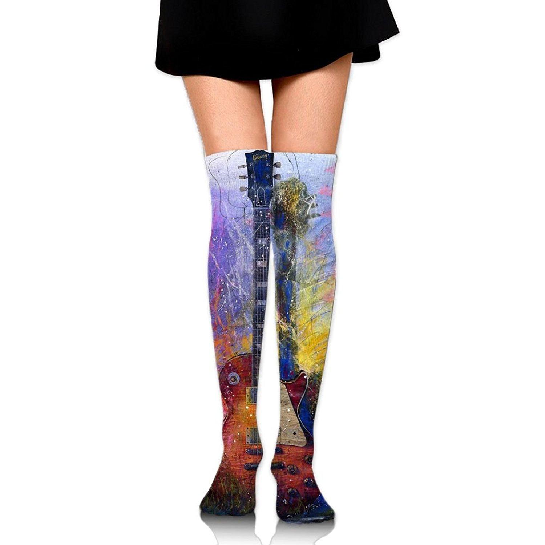 Zaqxsw Guitars Instrument Women Unique Thigh High Socks Cotton Socks For Teen Girls