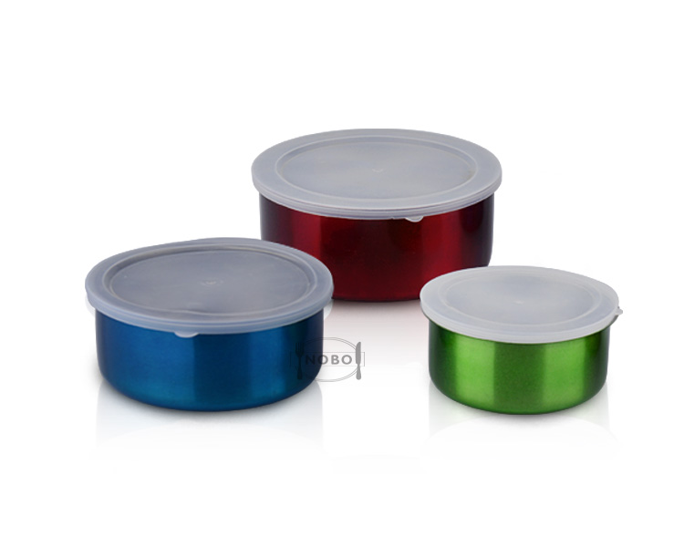 Colorful Stackable Preservation Box Stainless Steel Kitchen Storage Containers with PP Lids