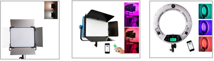 yidoblo rgb fc-480 led 5500k smd ring light with APP&remote controller for Filmmakers/Makeup Artists